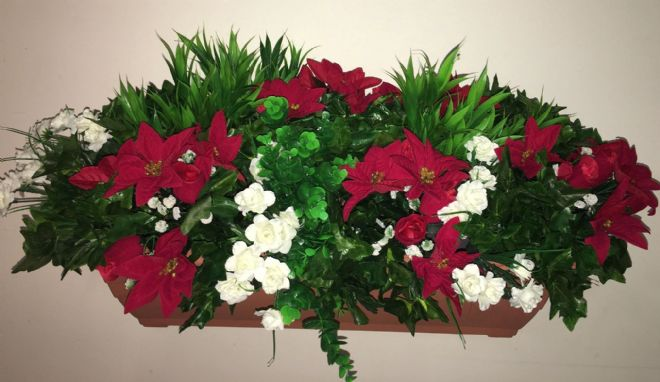 Red Poinsettia, Rose Bud Bush & White Rose-Black 70 cm Trough with Flowers